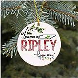 Pam9877ga Family Someone In Ripley Tennessee Loves Me TN - Adornos navideños (7,6 cm), diseño de círculos, Color Blanco