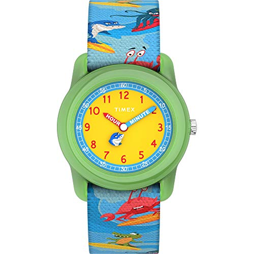 Timex Boys TW7C83600 Time Machines Analog 28mm Blue Sea Animals Elastic Fabric Strap Watch