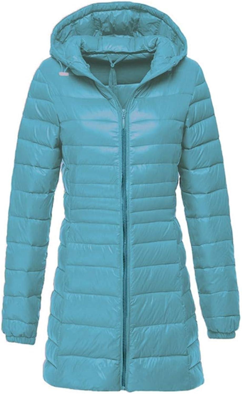 Aehoor Womens Long Winter Down Jacket Ultra Light White Duck Down 90% Hooded Warm