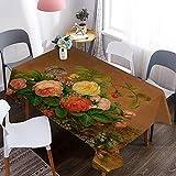 Mantel Lavable con patrón de Pintura al óleo de Flores 3D, Cubierta de Mesa Impermeable para jardín, Adecuada para Cocina, Mesa de café M-9 140x160cm