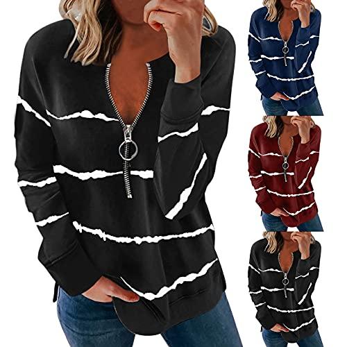 Sweatshirt Femme Zip Coupe-Vent Femme Pull Femme col v Tank Top y2k t Shirt Femme blance Court luck-peng Violet L