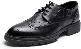 QinMei Zhou Brogue Oxford for Men Business Shoes Lace up Pointed Toe Microfiber Leather Solid Color Embossed Anti-Slip Rubber Sole (Color : Black, Size : 6 UK)