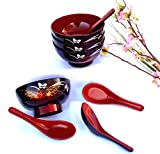 1 set: 4 Butterfly Lacquer Rice Miso Soup Bowl Bowls + 4 Spoons Red/black