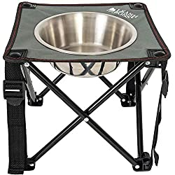 "Leashboss Camping Feeder Single Outdoor Elevated Dog Bowl, 10.5"" Travel Raised Dog Feeder for Medium and Large Dogs, Includes 2 Quart Stainless Steel Bowl"