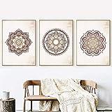 Rosa Gris Mandala Arte de la vendimia Carteles de Lona Pintura Con Textura Retro Fondo de Pared Fotos Imprimir Home Living Room Decoration 50 70 cm Sin marco