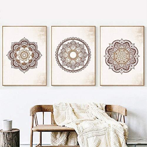 QZROOM Decoración del hogar Lienzo Pintura Cartel Mandala marrón Dormitorio Impresiones Estilo nórdico Arte de Pared Cuadros de Pared modulares -50x70cmx3Pcs-sin Marco