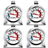 Ruisita 4 Pack Fridge Thermometer Refrigerator Thermometer Classic Series Large Dial Thermometer Temperature Thermometer with Hanging Hook and Retractable Stand
