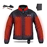 Venture Heat 12V Motorcycle Heated Jacket Liner with Wireless Remote, 7 Heating Zones - 75 Watt, Deluxe Protective Gear (XL) Black
