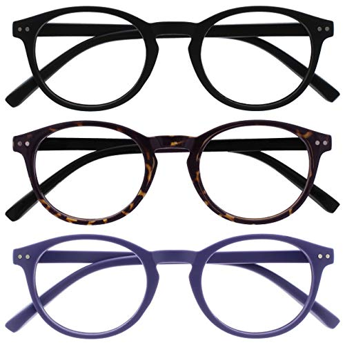 Opulize Zen Pack 3 Gafas De Lectura Negro Oscuro Marrón Púrpura Pequeño Hombres Mujeres RRR24-125 +1,50
