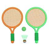 BESPORTBLE 1 par de Raquetas de Bádminton para Niños Juego de Deportes Al Aire Libre en Interiores Juego de Raquetas Juego de Playa (Naranja)