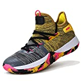 WETIKE Boys' Basketball Shoes Comfortable Youth Boys High Top Shoes Breathable Girls Shoes Durable Girls Tennis Shoes Non-Slip Sneakers Youth Basketball Shoes Size 5 Yellow