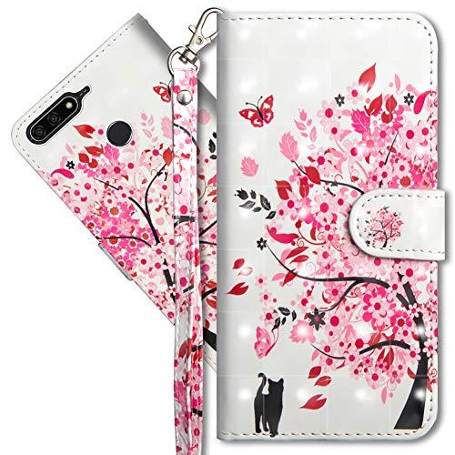 MRSTER Huawei Y6 2018 Handytasche, Leder Schutzhülle Brieftasche Hülle Flip Hülle 3D Muster Cover mit Kartenfach Magnet Tasche Handyhüllen für Huawei Y6 2018 / Honor 7A. YX 3D - Tree Cat