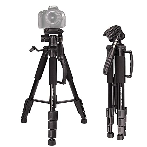 """CAMBOFOTO 55"""" Lightweight Tripod with 3-Way Pan head - Compatible with Nikon Canon Sony DSLR/SLR Camera(Black) ¡"""