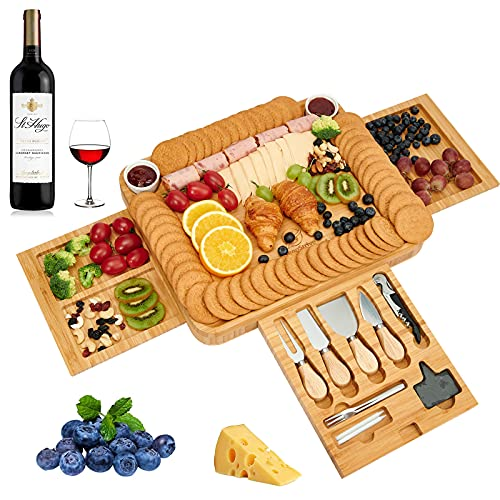 InnoStrive Cheese Board 16 x 13 x 2 Inch Wood Charcuterie Platter With Cutlery 3 Slide-Out Drawer For Wine, Cheese, Meat