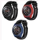 MWOOT 3 Stück Schutzhülle für Samsung Galaxy Watch 46MM und Samsung Gear S3 Frontier (Nicht für Classic), Hülle aus weichem Silikon (Blau, Rot, Blue)