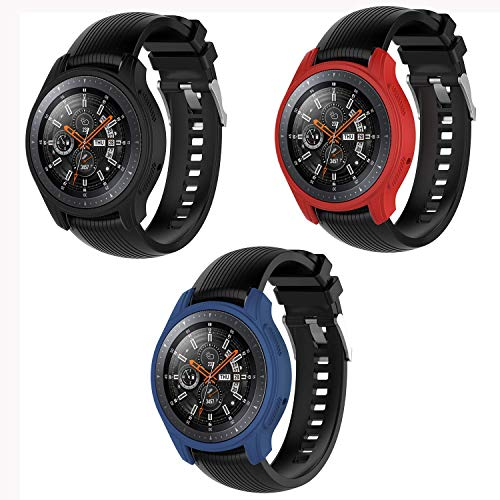 MWOOT 3 Unidades Funda Compatible con Samsung Galaxy Watch 46MM y Samsung Gear S3 Frontier (NO para Classic), Anti-caída Silicona Carcasas Negro/Azul/Rojo