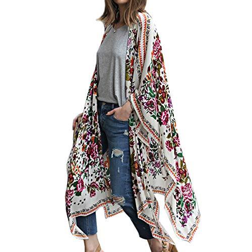 Kimono largo floral o estampado, de gasa, para playa, diseño boho, parte delantera abierta, holgada, blusa verano para mujer blanco A M