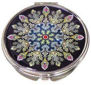 Main Miroir compact, faite à la main en nacre, cadeaux, Noir plumes