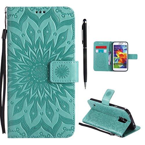 Hancda Hülle für Samsung Galaxy S5 Mini [Nicht für S5] Hülle Leder Flip Case, Schutzhülle Ledertasche Handyhüllen Cover Magnet Geldbörse Stoßfest Handytasche für Samsung Galaxy S5 Mini,Blume Grün