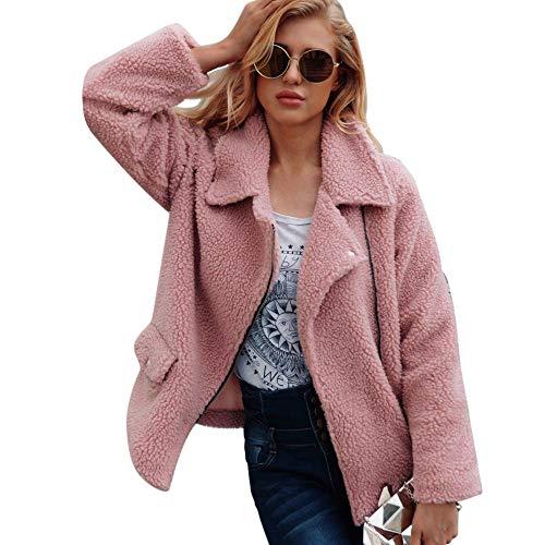 ESAILQ Kleider Damen KüNstliche Wollmantel ReißVerschluss Jacke Winter Parka Oberbekleidung