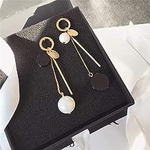 GMXEHUAN Earring High Quality Minimalism Unique Female Earrings Earrings Drop Earring Fashion Black White Simulated Pearl Pendant Long Earings Asymmetric Geometric Vertical Stick Drop Earrings For W