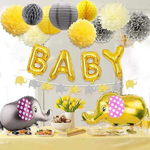 JOYMEMO Baby-Dusche Dekorationen neutral für Jungen oder Mädchen, Baby-Dusche gelb und grau Elefant Thema Papier Pom Poms und Laternen, Elefant Walking Ballon und Girlande