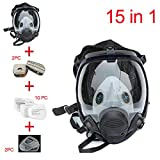 QQA Full Face Respirator,15 In1 Wide Field of View,Widely Used in Paint Sprayer