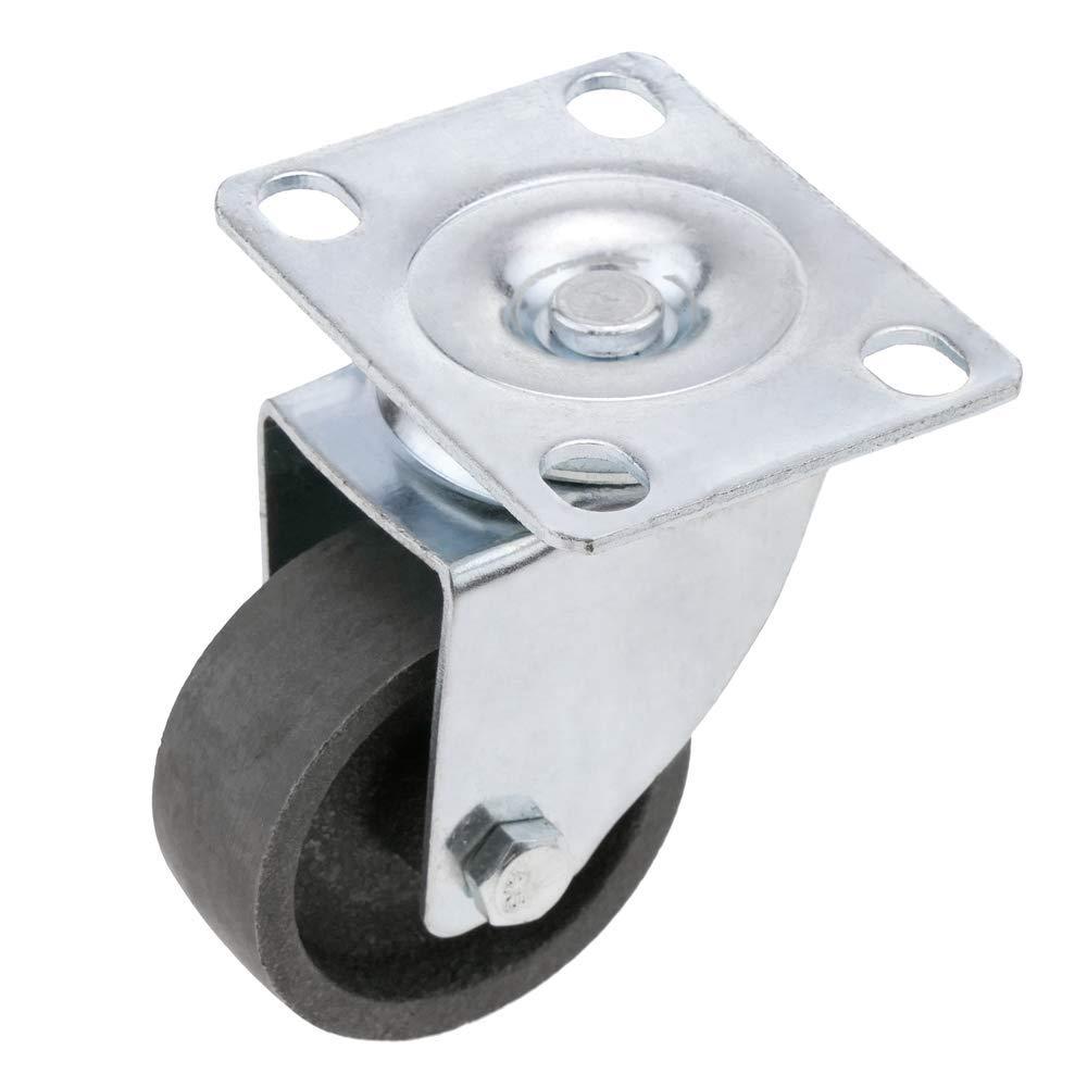 PrimeMatik Rueda pivotante industrial de metal sin freno 75 mm
