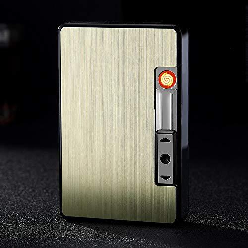 Alhj sigarettenetui met aansteker, tabaksbox, 2-in-1, USB-oplader, draagbaar, legering zonder vlam, winddicht, sigarettengereedschap voor rookoven (capaciteit: 10)