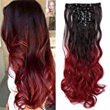 Ombre Clip in Hair Extensions Balayage Two Tones Highlighted 8PCS Clip on Synthetic Hairpiece Full Head Long Straight Wavy Hair for Women- 24' Curly Dark Brown to Dark Red