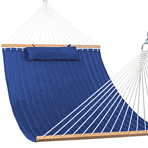 Lazy Daze Hammocks 55' Double Quilted Fabric Hammock Swing with Pillow, Natural (Navy Blue)