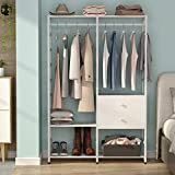 Tribesigns Free-standing Closet organizer with Double Drawers, Heavy Duty Clothes Rack with Hanging rod and Shelves, Large Closet Storage System& Closet Garment Rack (white)