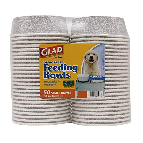 Glad for Pets Disposable Feeding Bowls | Small Dog Bowls in Gray Pattern | 1.75 Cup Feeding Size, 50...