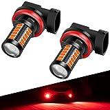 H8 H9 H11 LED Fog Light Bulbs DRL 2800 Lumens Xtreme Super Bright 5730 33-SMD 12V LED Bulbs Replacement for Cars, Trucks, 6000K Xenon Red