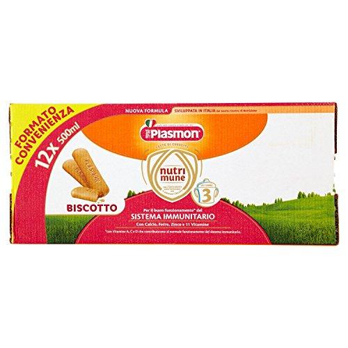Plasmon Latte Liquido Nutri Mune 3 Biscotto - 12 confezioni da 500 ml, Totale: 6 l
