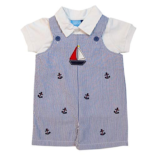 Good Lad Newborn/Infant Boy Blue Seersucker Shortall Set with Sailboat Applique and Anchor Embroideries (18M)