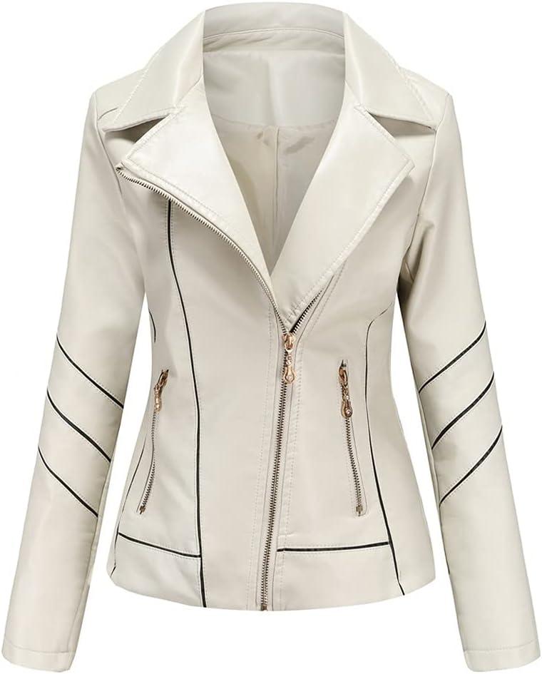 ZZABC NSWT Autumn Faux Leather Jacket Women Oversized Boyfriend Style Women's Leather Jacket Motor Biker Coat Street Outwear (Color : White, Size : L Code)