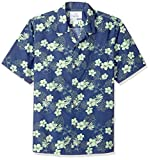28 Palms Relaxed-Fit 100% Cotton Tropical Hawaiian Shirt Button-Down-Shirts, Navy/Bright Lime Hibiscus Floral, US (EU XS)