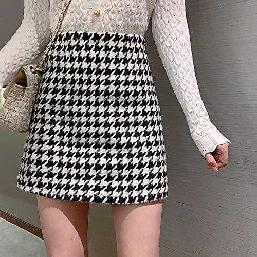 MWLSW Falda Tenis Patinadora Plisada Cintura Alta Corta Coreana para Mujer Falda una línea para Mujer Falda Pata Gallo Cintura Alta Falda Corta para Mujer Falda Todo fósforo-XL
