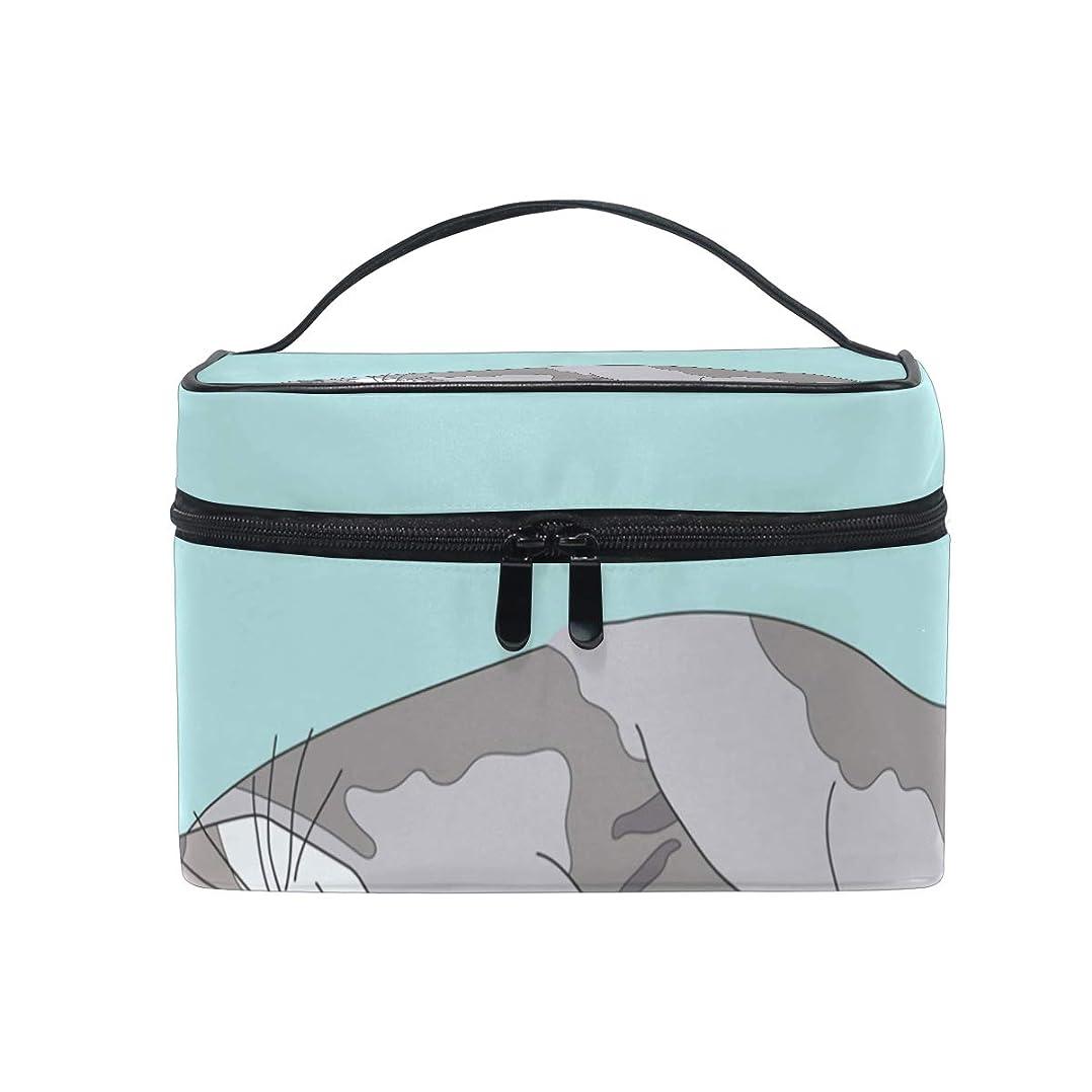集団的ドレイン天のメイクボックス Munchkin Cat柄 化粧ポーチ 化粧品 化粧道具 小物入れ メイクブラシバッグ 大容量 旅行用 収納ケース