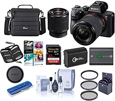 Sony Alpha a7 III 24MP UHD 4K Mirrorless Camera with 28-70mm Lens - Bundle 32GB SDHC U3 Card, Camera Case, 55mm Filter Kit, Spare Battery, Cleaning Kit, Memory wallet, Card Reader, PC Software Package by Sony