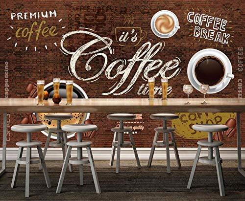 Papel tapiz 3D mural Cafe restaurante hotel fondo pared PVC fondo retro cafe y ladrillo tienda de alimentos-400cmx280cm