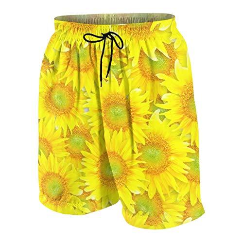 SUHOM Uomo Casuale Pantaloncini da Surf,Piastrelle Girasoli,Asciugatura Veloce Costume da Bagno Sportivo Abbigliamento da Spiaggia con Fodera in Rete