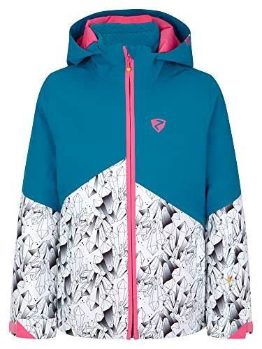 Ziener Mädchen Alani Junior Kinder Skijacke, Winterjacke   Wasserdicht, Winddicht, Warm, Ice Crystal Print, 140