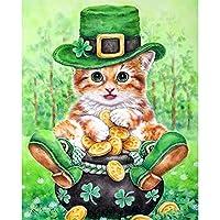 DIY 5D ダイヤモンドペインティングキット ラインストーン刺繍アート クラフトキャンバス クロスステッチ ホームウォールデコレーション かわいい子猫(40x50)CM
