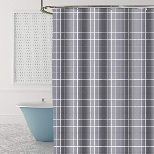 Xiongfeng Duschvorhang 240x200 Extra Breit Vorhang Textil Dunkelgrau Plaid Muster Blickdicht und Wasserdicht Shower Curtains aus Polyester mit 16 Duschvorhangringen und Beschwertem Saum