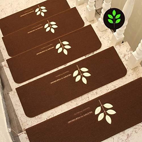 Liszh Tappeti per Scale- 9Pcs Luminoso visiva Stair Carpet antislittamento Pad Staircase tappetini Pedate, Morbida for Solidi Domestici Scala di Legno, Colla-Libero Autoadesivo Antiscivolo Stair Mat