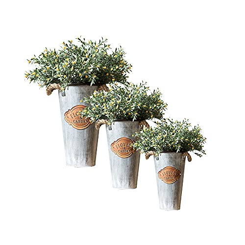 CJSWT Jarrones de Flores de Metal para macetas de Granja, Juego de 3 macetas de Cubo de Flores francesas Decorativas rústicas para Decoraciones de Centro de Mesa de Boda, decoración del hogar