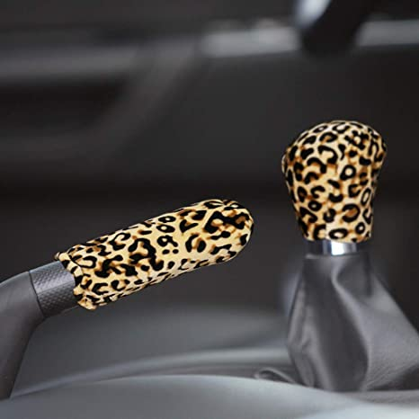 Itimo Auto Handbremsgriffabdeckung Und Schaltknaufabdeckung Leopardenmuster Plüsch Auto