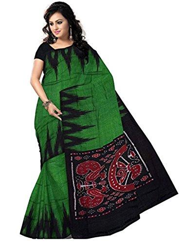 Odisha handloom Women's Sambalpuri Synthetic Saree With Blouse Piece (Green)